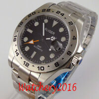 43mm bliger Black dial luminous sapphire glass orange GMT automatic men's watch