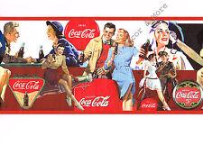 Genuine Vintage Collectible Red Coca Cola COKE DATE Wall paper Border Roll Run 1