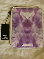 McQ Alexander McQueen canvas purple Iris white leather iPad case clutch bag