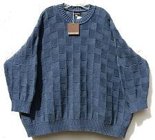 NWT Eskandar DARK DENIM Cotton Shadow Square Knit Round Neck Sweater O/S $1375