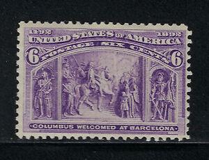 SCOTT 235 1893 6 CENT COLUMBIAN EXPOSITION ISSUE MH OG F-VF CAT $35!