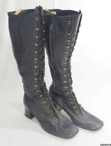 """Vintage Victorian Style Steampunk Black Leather 16"""" High Lace and Zipper Women's"""