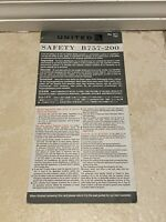 DISCONTINUED RARE United Airlines Boeing B757-200 Safety Card Gray Revised 2014