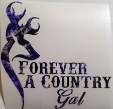 "Blue Camo Forever A Country Gal Vinyl Decal 5"" Wilderness Child Browning Girl"
