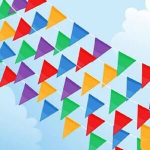 10m OF LARGE MULTI COLOURED BUNTING Triangle Banner Party Pennant Flags