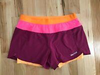 MARMOT Active UPF 30 Pulse Purple Pink Orange Womens Running Shorts Sz M NWT