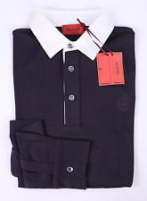 NWT New * ISAIA * Napoli Dark Purple Cotton-Wool Long Sleeve Rugby Polo Shirt~ S
