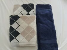 Navy Blue Argyle Egyptian Cotton John Lewis Hand Bath Towel Bundle Footmat