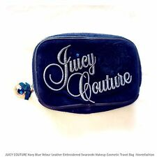 ✨JUICY COUTURE Make Up Cosmetic Wash Bag Travel Toiletry Velour Blue Swarovski💙
