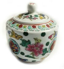 Gorgeous Chinese Antique Famille Rose Porcelain lidded Jar Flower & Birds Marked
