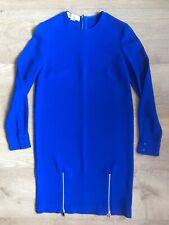 STELLA McCARTNEY Blue Rayon Mix Zip Detail Shift Smart Dress Size 8 UK 36 Silver