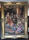 VTG French  Aubusson Hand woven Romantic Victorian Scene Tapestry Wood Framed