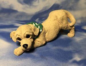 HTF Enesco Kathy Wise Yellow Labrador Retriever Dog Figurine Green Bandanna GUC