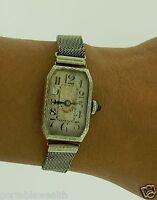 Vintage Antique Ladies Wrist Watch 18K White Gold and 14k GF Mesh Band