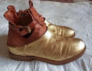 AS 98 Free People Air Step Womens Gold Distressed Ankle Boot Bootie Size 36