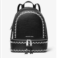 Nwt New Michael Kors Medium Black Stud Studded Rhea Leather Backpack $358