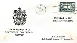 Canada 1948 FDC #277 single stamp  RESPONSIBLE GOVERNMENT - Parliament Buildings