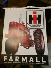 Farmall International Harvester Tractor Tin Metal Sign Wall Garage Barn Vintage