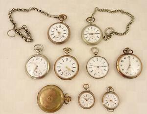 alte Taschenuhren  9 Stück  Silber versilbert vergoldet   Bastler .. 4500a