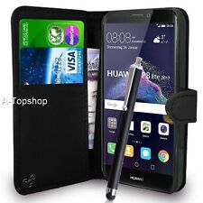 Black Wallet Case PU Leather Book Cover For Huawei P8 Lite (2017) Mobile Phone