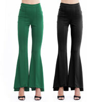 Women Stretchy Flare Wide Leg Yoga Pants Gypsy Palazzo Bell Bottom Trouser S-XL