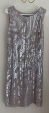 NEXT 10 worn once IMMAC SILK SHIMMERY DRESS ecru beige lined chiffon & silver