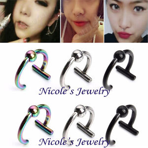2PCS Titanium Steel Fake Ear Stud Lip Nose Ring No Piercing Cilp On Jewelry CE14
