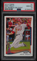 2014 TOPPS MIKE TROUT - NO SPARKLE ON CLEAT - #1 PSA 10 GEM MINT!!  ANGELS