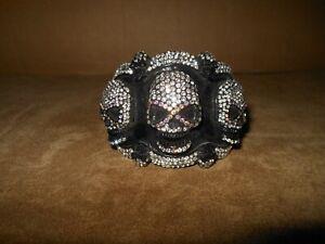 Heavy Black Metal & Crystal Multi Skull Hinged 3D Bracelet