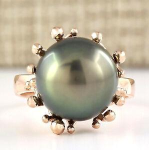 12.45MM Natural South Sea Pearl 14K Rose Gold Ring