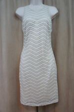 GUESS Dress Sz 8 White Gold Sleeveless Crochet Evening Dinner Cocktail Dress
