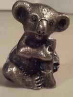 """PEWTER KOALA BEAR Figurine Sitting Miniature Sculpture Art 1.35"""" Vintage Solid"""