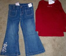 Jeans Set Gymboree 2pc Scrolling Red Tee Girl size 3 years  New