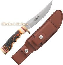 SCHRADE KNIFE - UNCLE HENRY GOLDEN SPIKE FIXED BLADE + BROWN LEATHER SHEATH