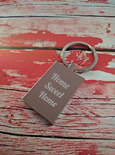 Personalised Engraved Keyring - Home Sweet Home - add message - New house gift