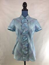 New York & Company Women's Blouse Medium Blue Button Down Shirt Short Sleeve