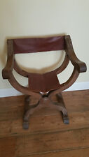 Victorian Gothic, X Frame Throne Chair. Leather seat and back