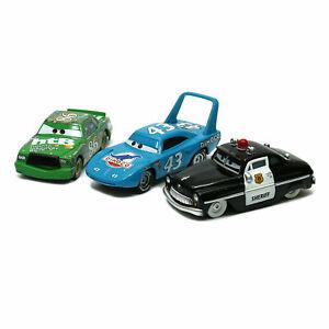 3-Pack Mattel Disney Pixar Cars King Sheriff Chick Hicks 1:55 Diecast Toy Loose