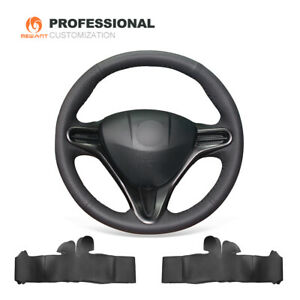 Black Genuine Leather Car Steering Wheel Cover for Honda Civic 8 for Acura CSX