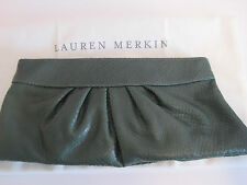 NEW LAUREN MERKIN LOUISE CLUTCH - SNAKE PRINT - GREEN - MSRP $225.00