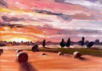 ORIGINAL Landscape Sunset Painting - British Art Countryside Rural Presale