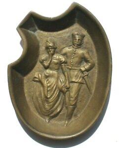 Vtg Michael's Art Nouveau Naughty Man Lifting Skirt Funny Bronze 2-Sided Tray