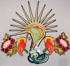 Snake patch/Cobra/Flower patch/Embroidered patch/Sew on patch/Tattoo