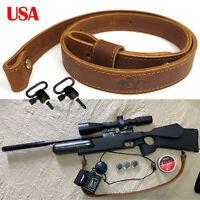"USA Genuine Leather Rifle Gun Sling, Durable Gun Shoulder Straps With 1"" Swivels"