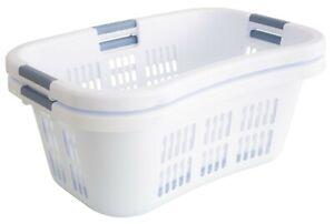 Bushel 1.8 Hip-Holder White Laundry Basket Plastic Ventilated Design 2 Pack
