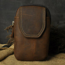Men's Brown Vintage Genuine Leather Cowhide Fanny Hip Bum Waist Pack Travel Bags