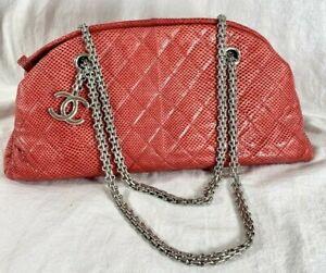 CHANEL Mademoiselle Red Lizard Leather Chain Link Satchel Shoulder Bag