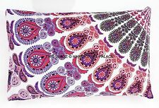 Indian Peacock Mandala Print Pillow Cover Dorm Decor Cotton Bohemian Cushion