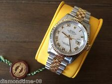 PRE-OWNED ROLEX DATEJUST 36mm PYRAMID DIAL 18K TWO TONE WATCH Y SERIAL 16233
