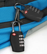 4 TSA Security Combination Digit Padlock for Travel Suitcase Luggage Bag Black